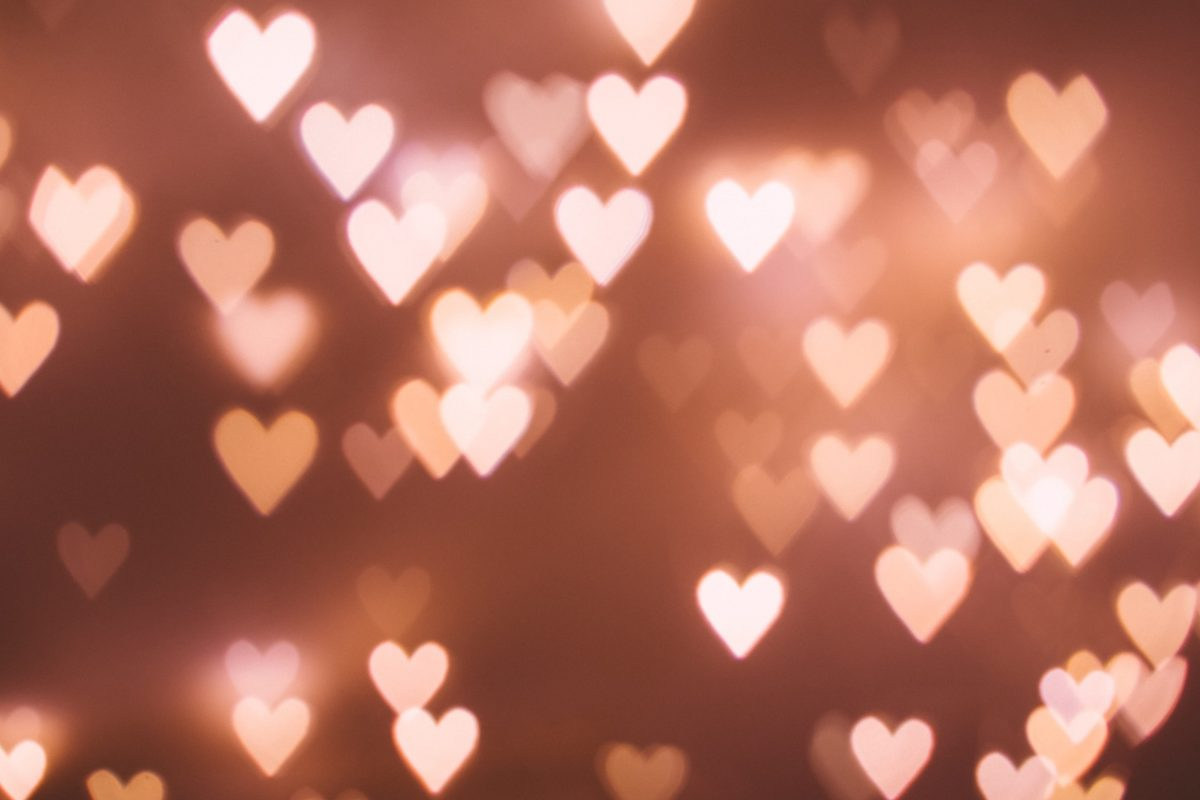 a bokeh effect of lights which look like small hearts