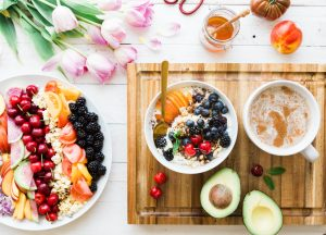 table of nutritious food and drinks, fruit, avocado