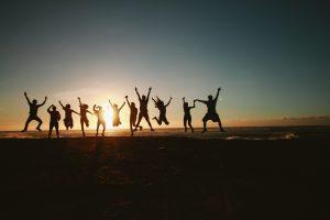 People jumping in joy
