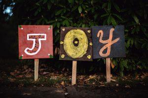 Joy written on signposts